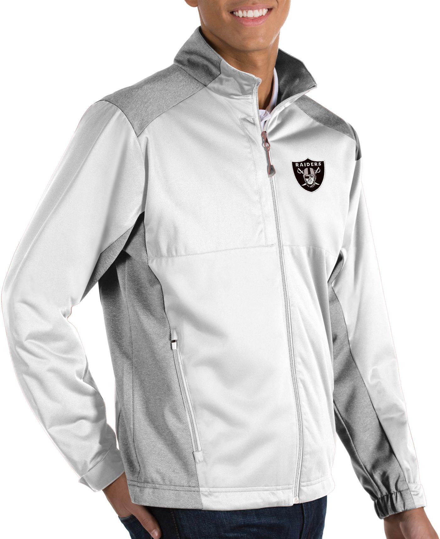 Antigua Men's Oakland Raiders Revolve White Full-Zip Jacket