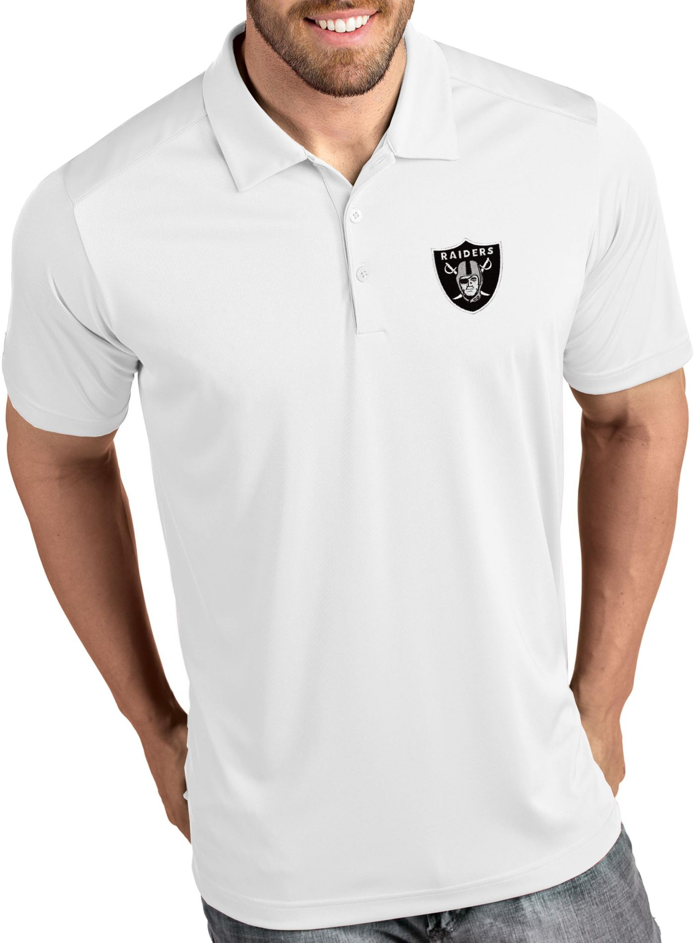 Antigua Men's Oakland Raiders Tribute White Polo
