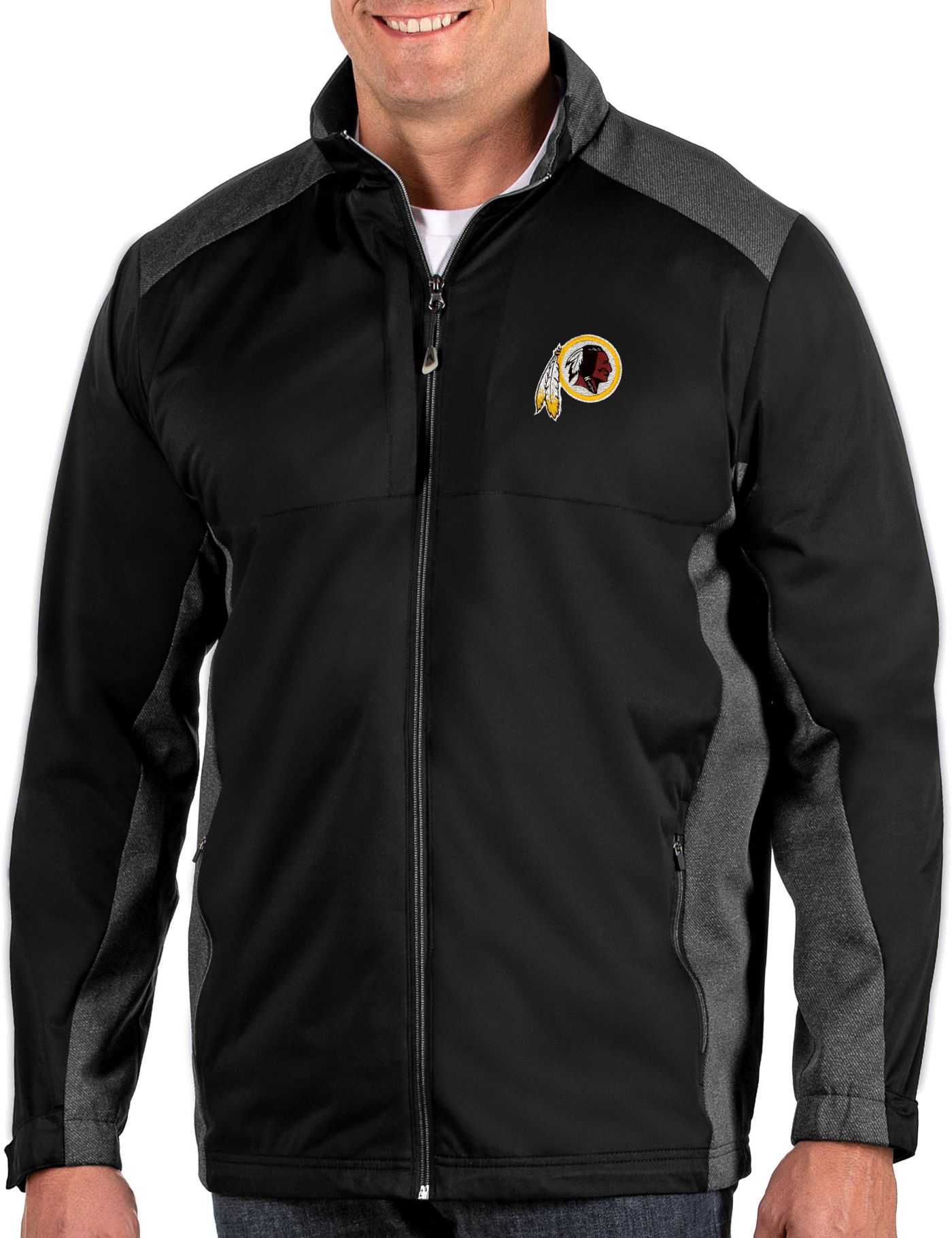 Antigua Men's Washington Redskins Revolve Black Full-Zip Jacket