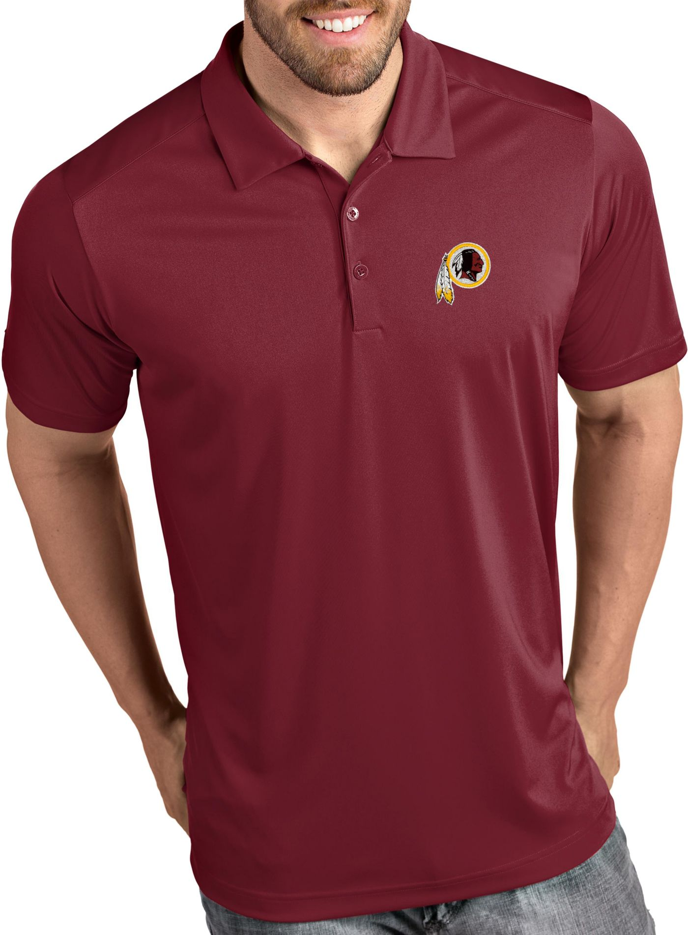 Antigua Men's Washington Redskins Tribute Red Polo