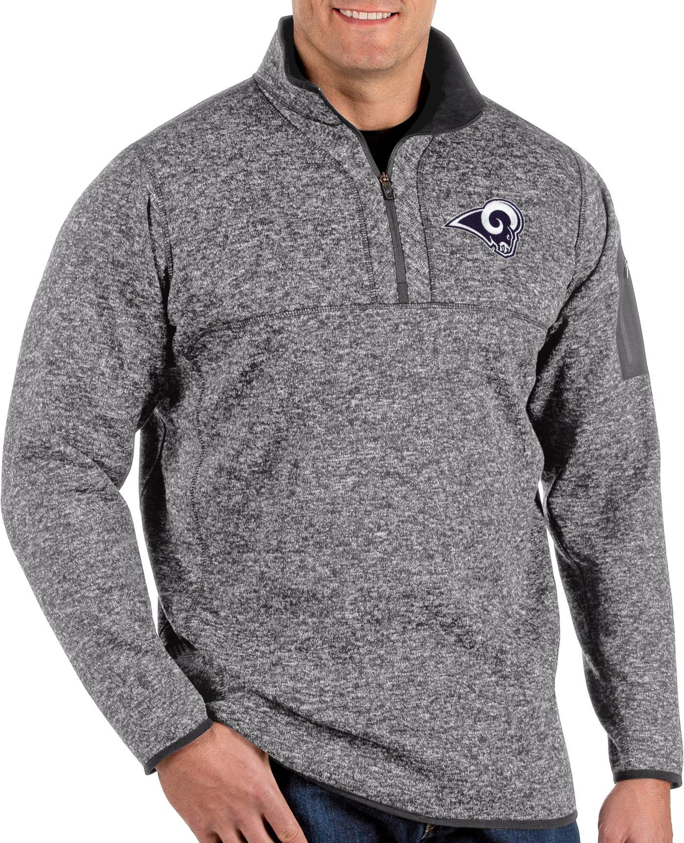 Antigua Men's Los Angeles Rams Fortune Grey Quarter-Zip Pullover