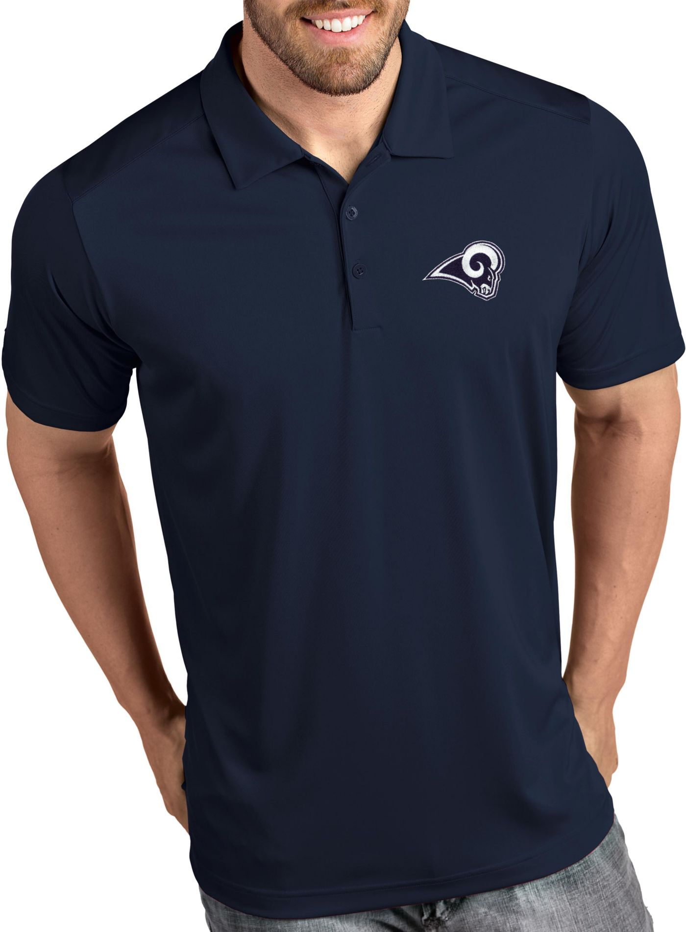 Antigua Men's Los Angeles Rams Tribute Navy Polo
