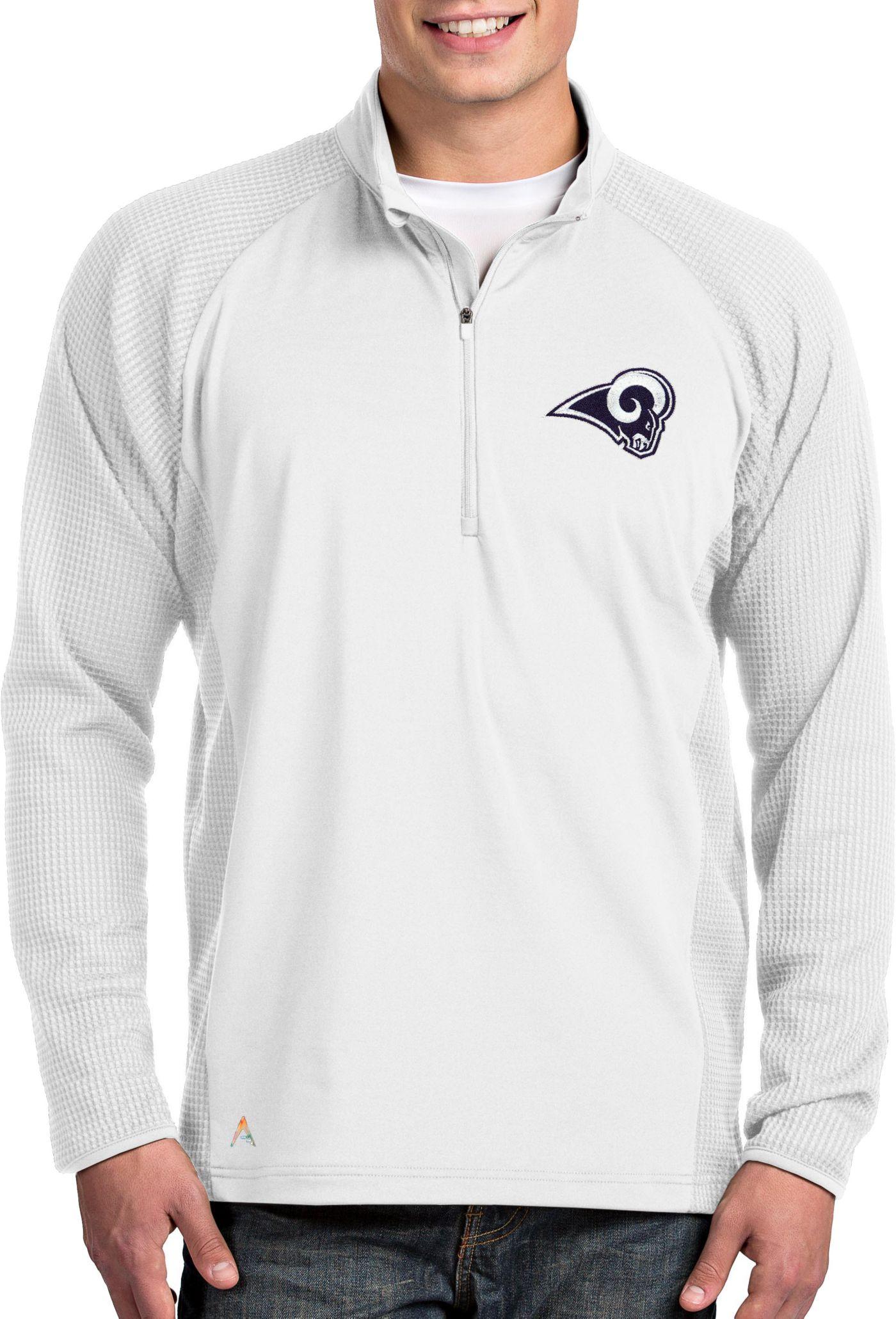 Antigua Men's Los Angeles Rams Sonar White Quarter-Zip Pullover