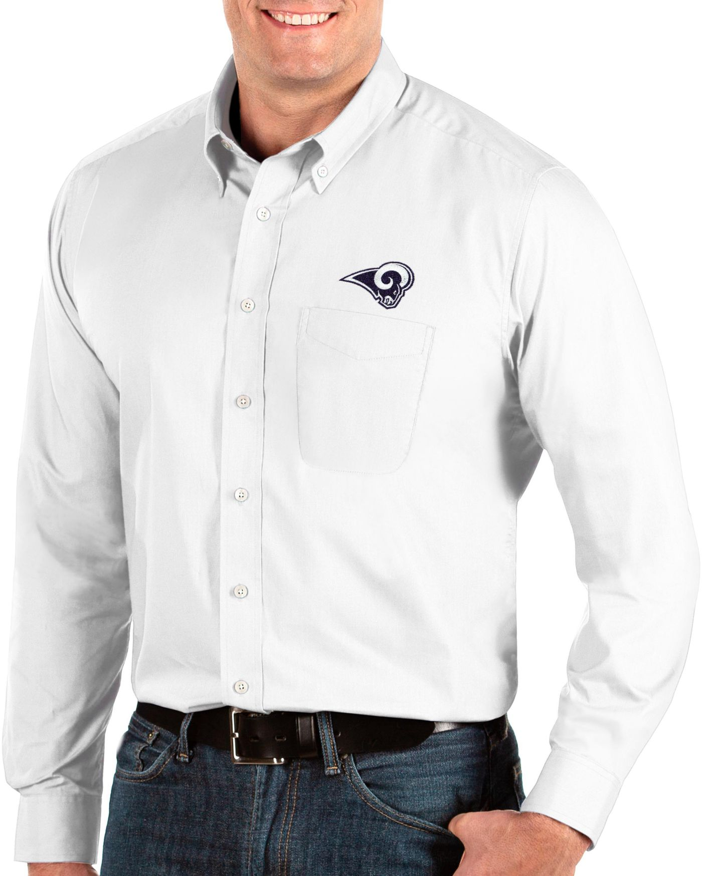 Antigua Men's Los Angeles Rams Dynasty Button Down White Dress Shirt