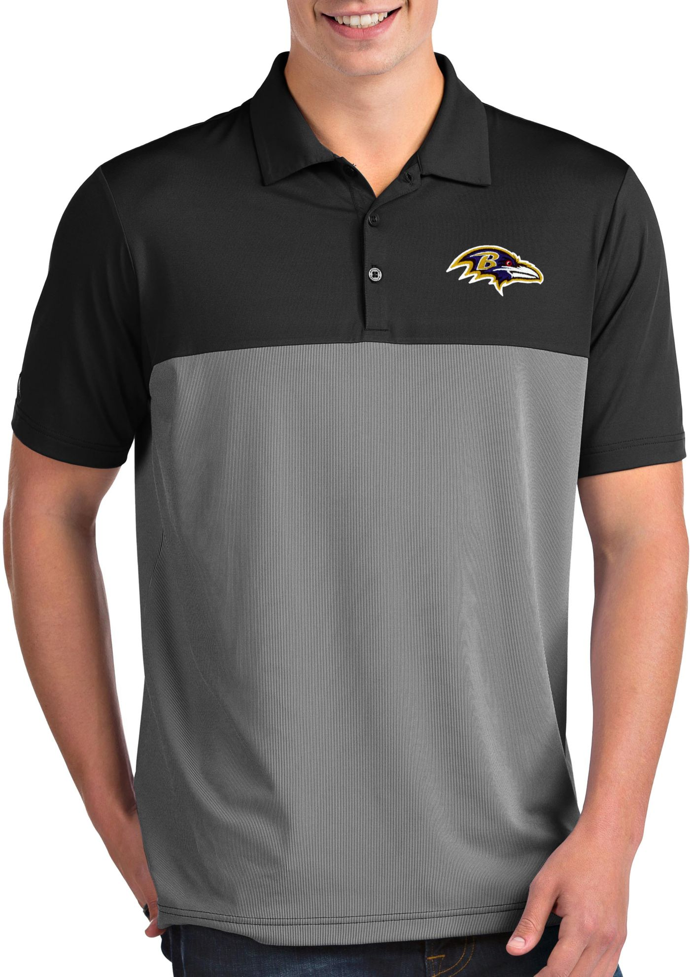 Antigua Men's Baltimore Ravens Venture Black Performance Polo