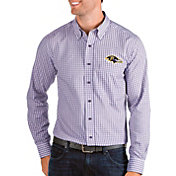 Antigua Men's Baltimore Ravens Structure Button Down Purple Dress Shirt