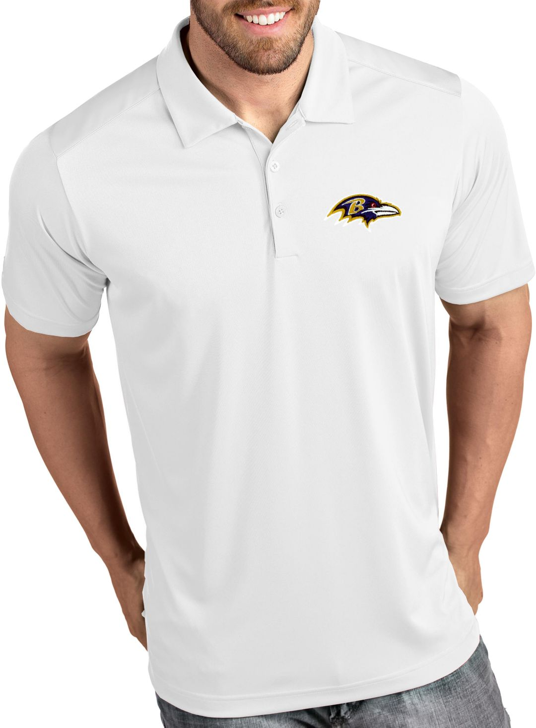379299be Antigua Men's Baltimore Ravens Tribute White Polo