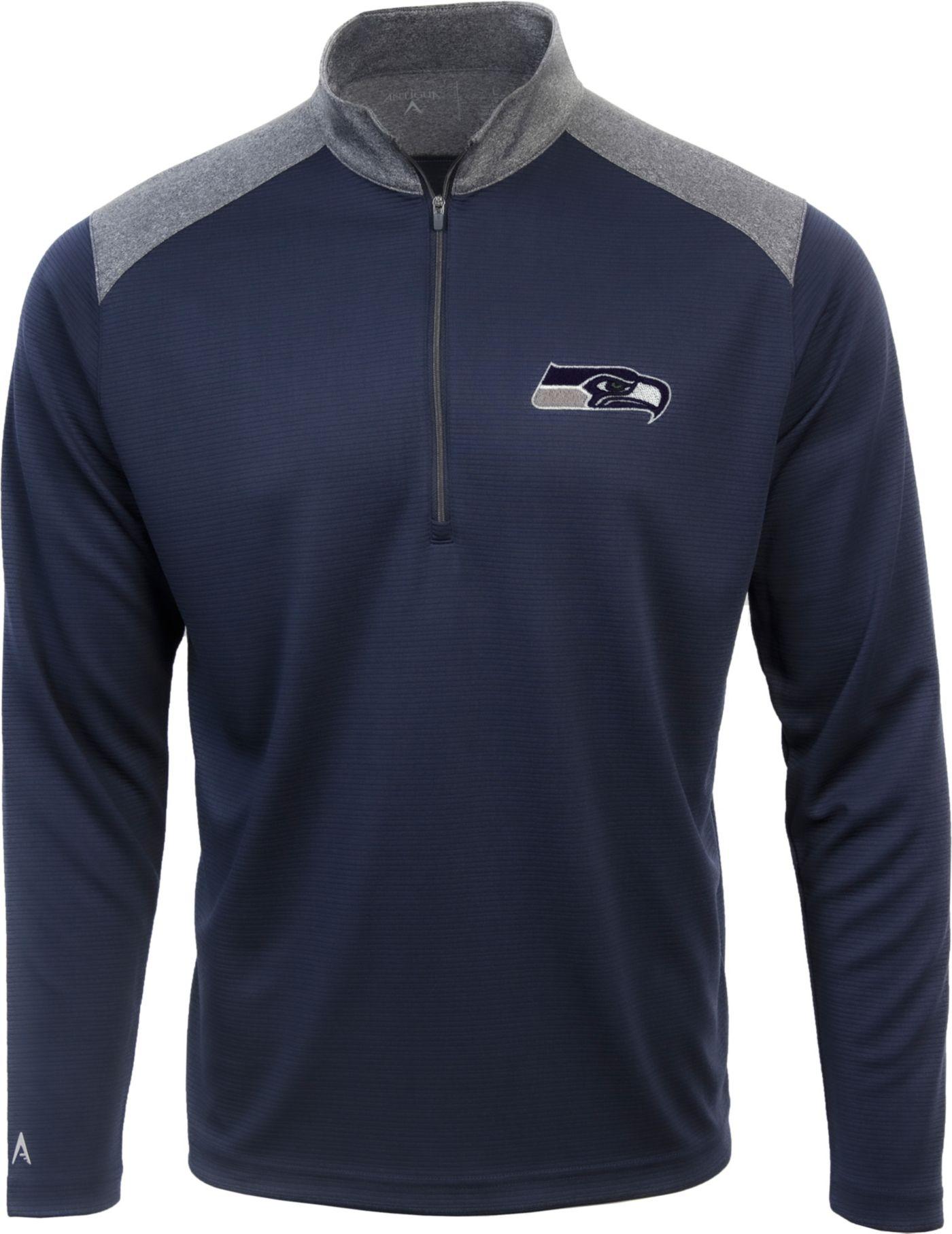 Antigua Men's Seattle Seahawks Velocity Navy Quarter-Zip Pullover