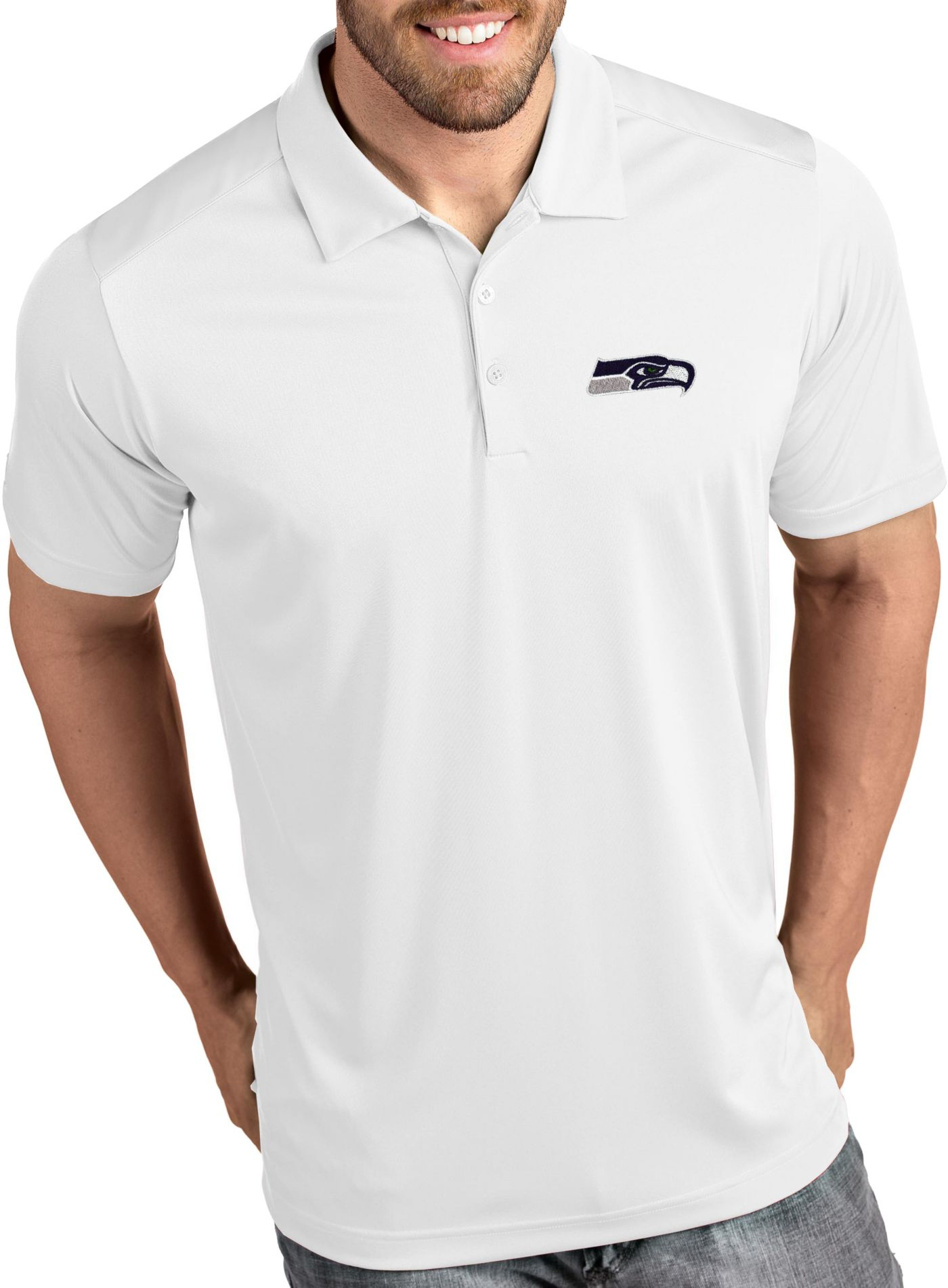 Antigua Men's Seattle Seahawks Tribute White Polo
