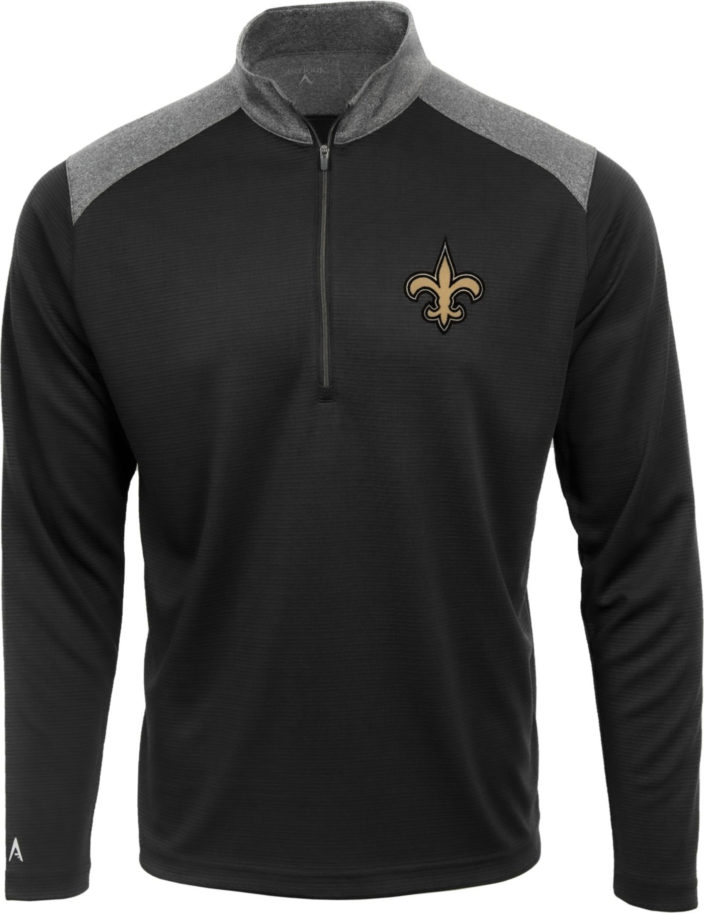 Antigua Men's New Orleans Saints Velocity Black Quarter-Zip Pullover