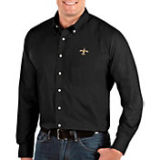 Antigua Men's New Orleans Saints Dynasty Button Down Black Dress Shirt