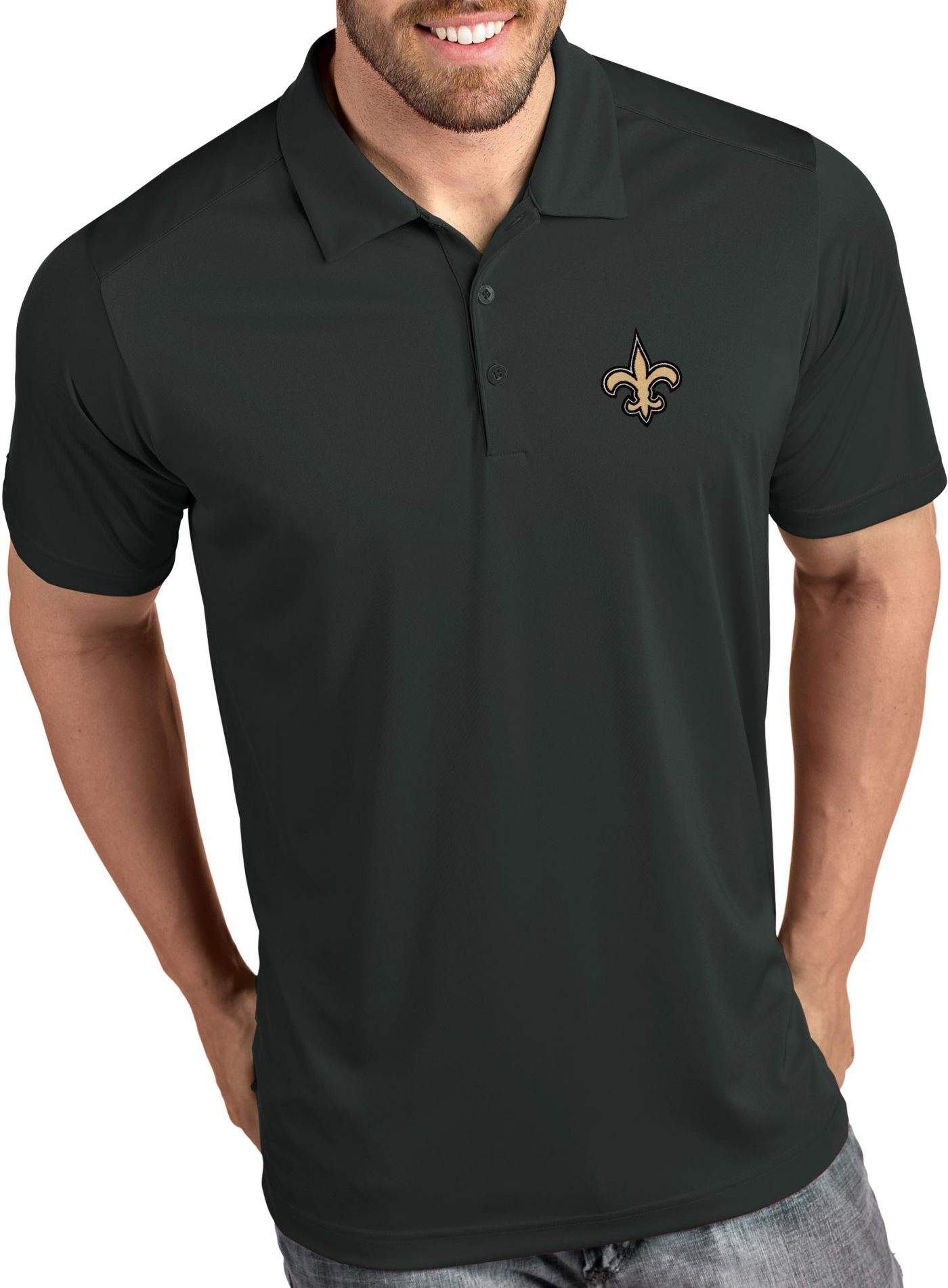 Antigua Men's New Orleans Saints Tribute Grey Polo