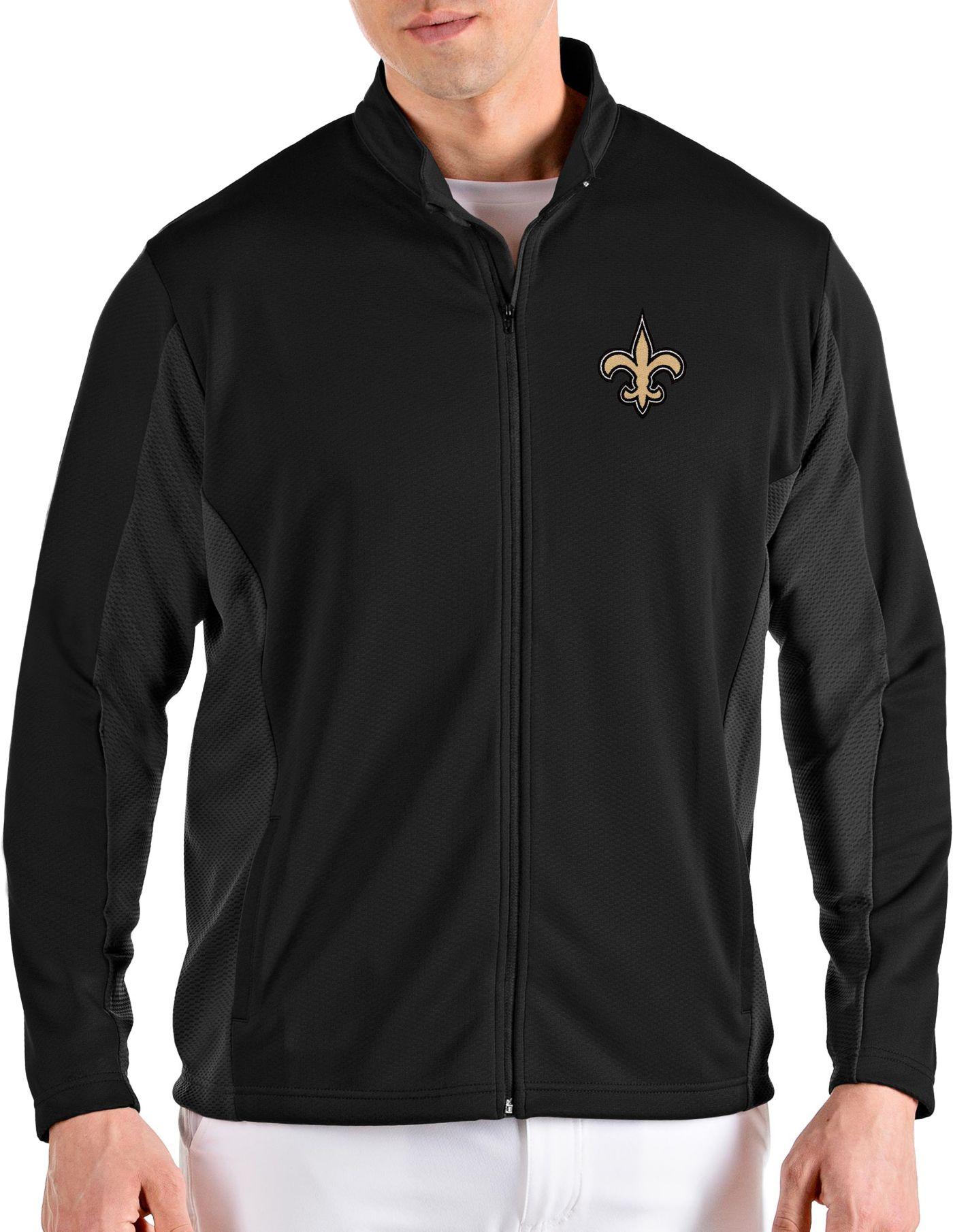 Antigua Men's New Orleans Saints Passage Black Full-Zip Jacket