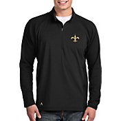 Antigua Men's New Orleans Saints Sonar Black Quarter-Zip Pullover