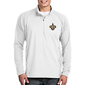 Antigua Men's New Orleans Saints Sonar White Quarter-Zip Pullover