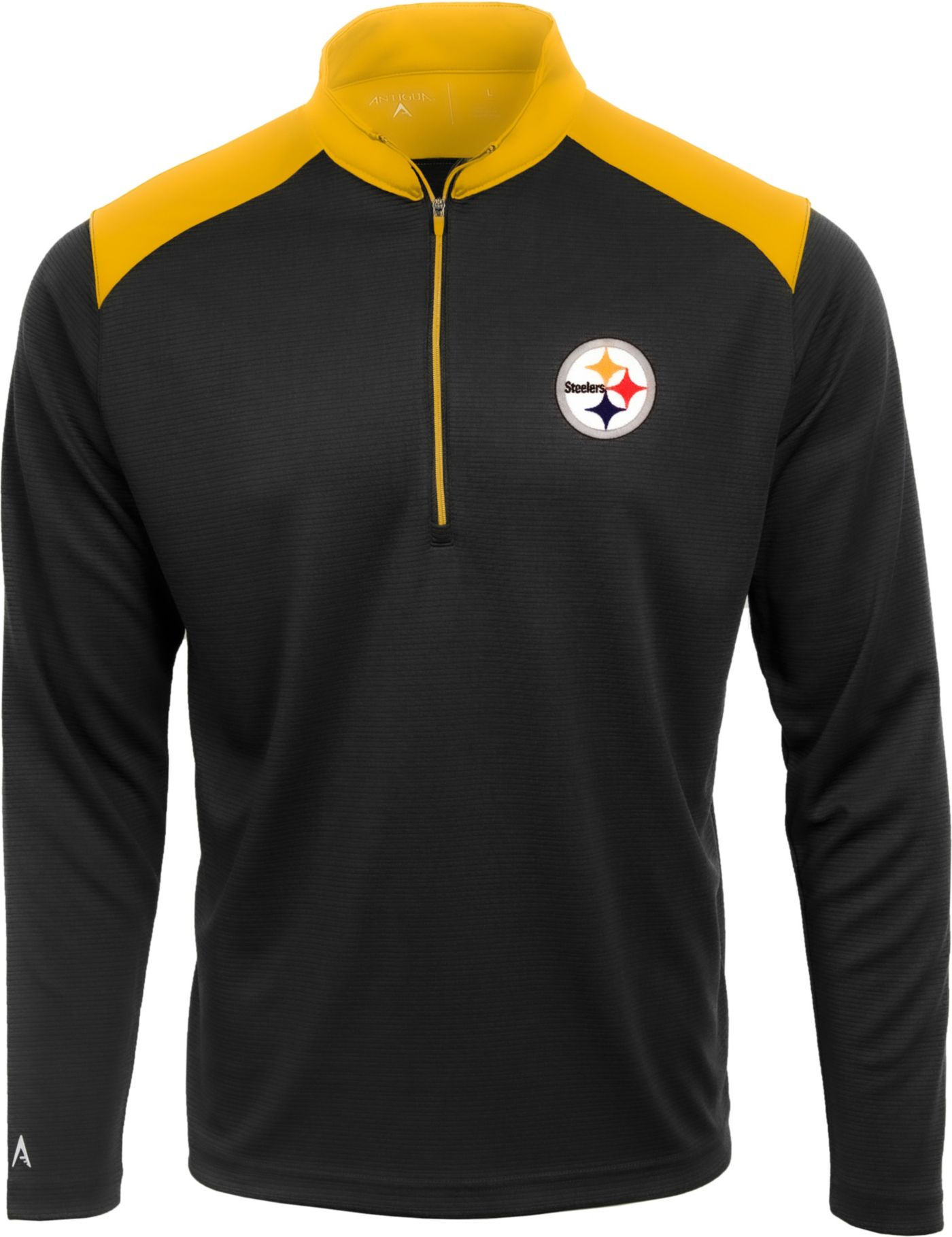 Antigua Men's Pittsburgh Steelers Velocity Black Quarter-Zip Pullover