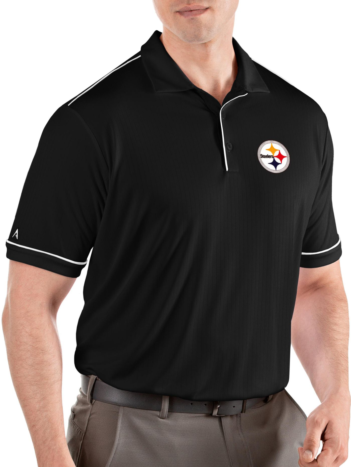 Antigua Men's Pittsburgh Steelers Salute Black Polo