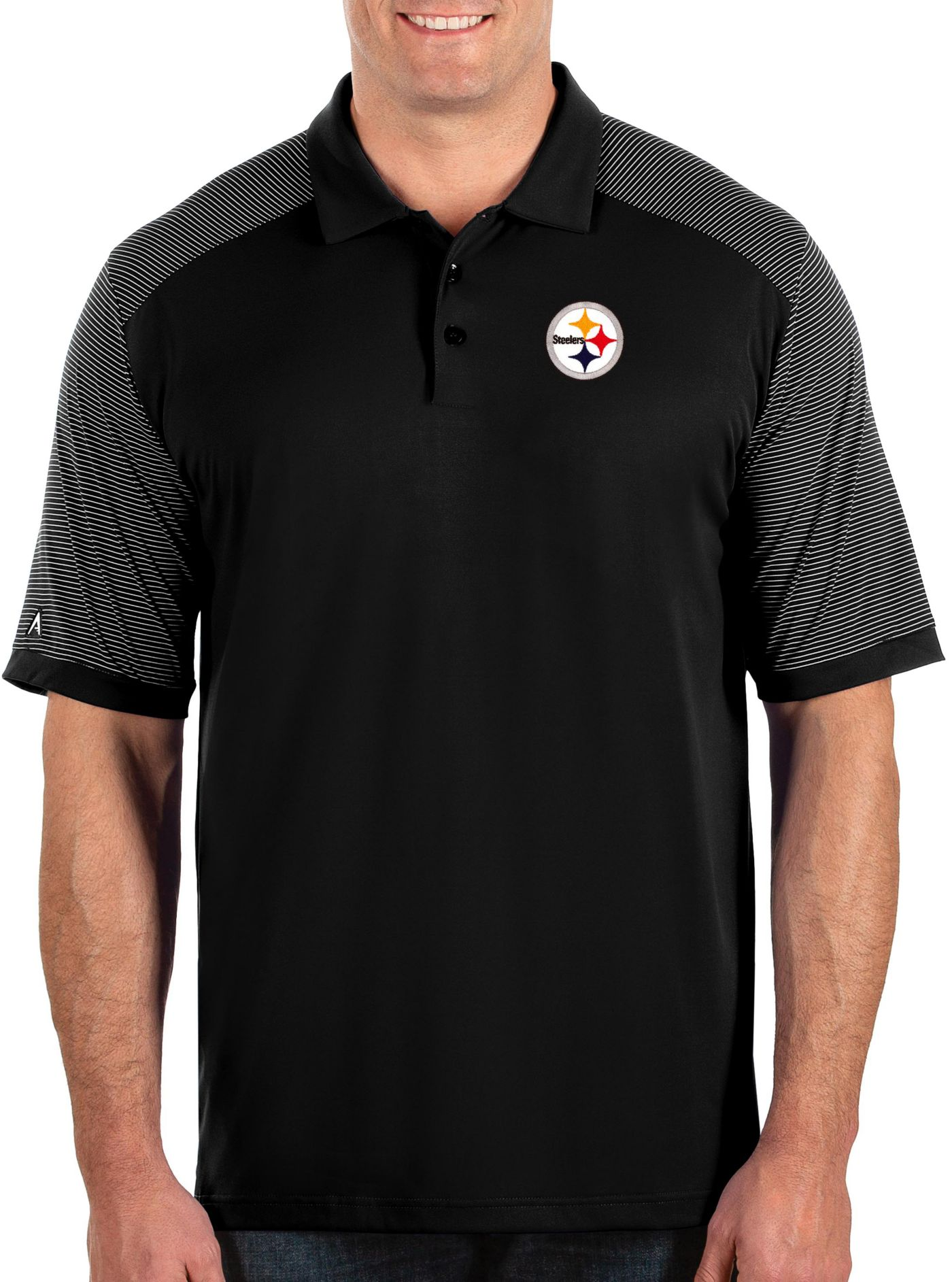 Antigua Men's Pittsburgh Steelers Engage Performance Black Polo