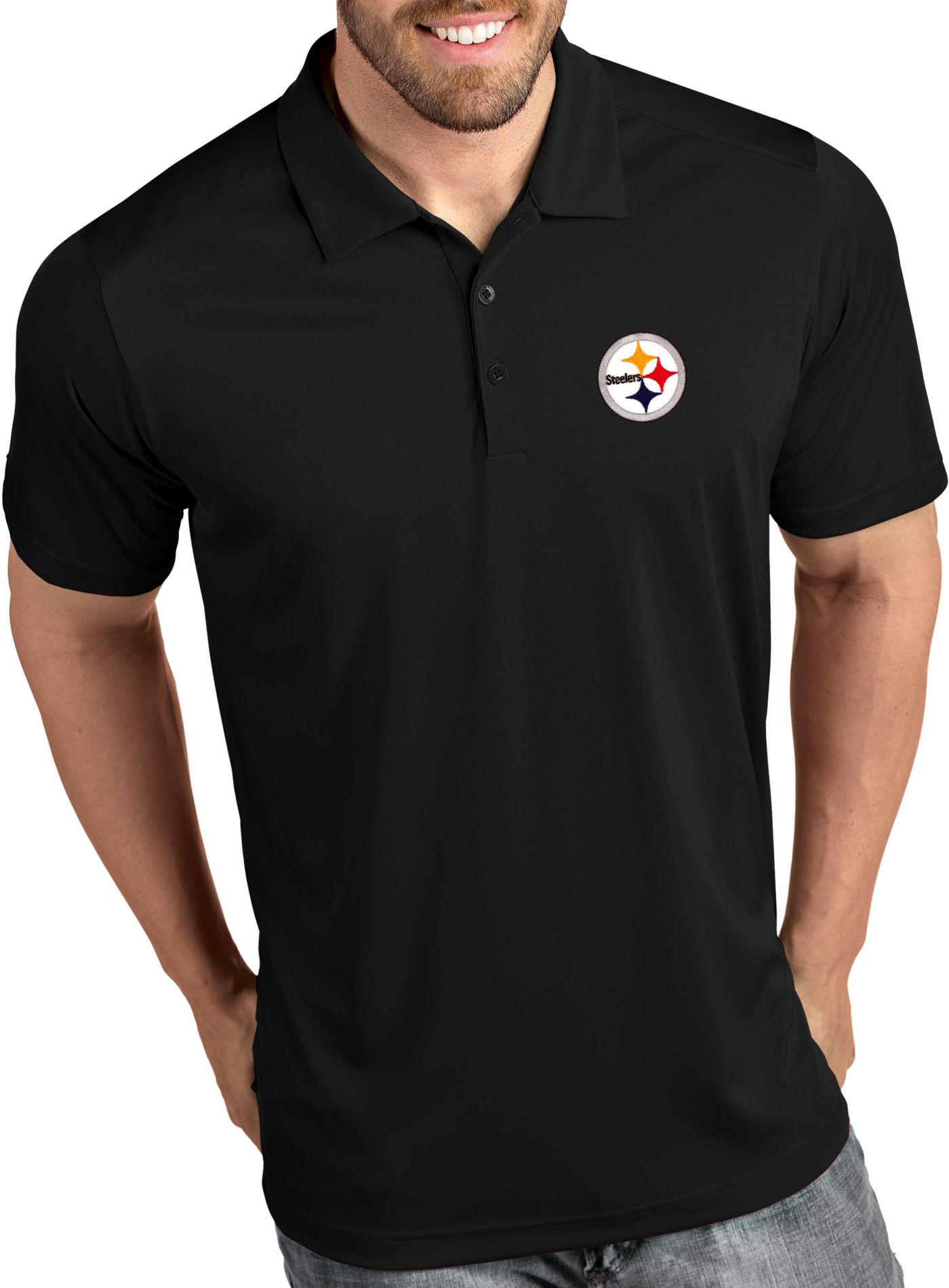 Antigua Men's Pittsburgh Steelers Tribute Black Polo