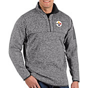 Antigua Men's Pittsburgh Steelers Fortune Grey Quarter-Zip Pullover