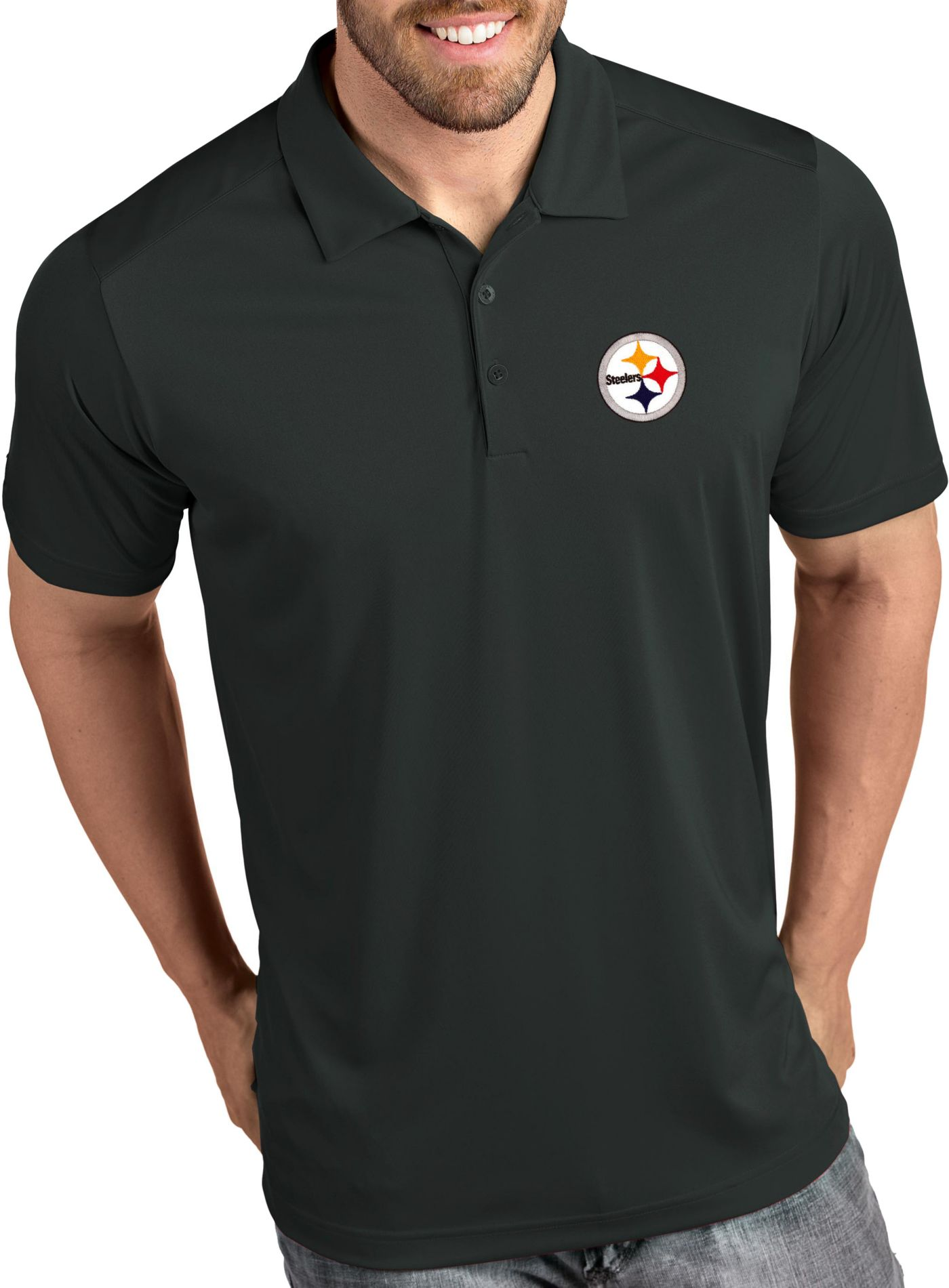 Antigua Men's Pittsburgh Steelers Tribute Grey Polo