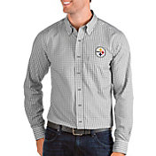 Antigua Men's Pittsburgh Steelers Structure Button Down Grey Dress Shirt