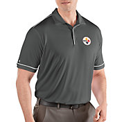 Antigua Men's Pittsburgh Steelers Salute Grey Polo