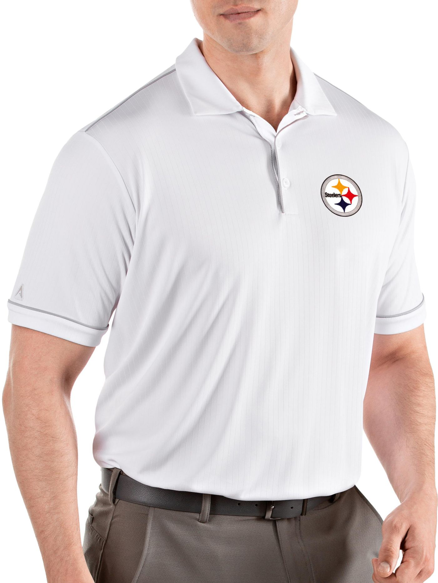 Antigua Men's Pittsburgh Steelers Salute White Polo