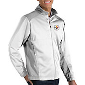 Antigua Men's Pittsburgh Steelers Revolve White Full-Zip Jacket