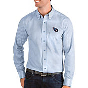 Antigua Men's Tennessee Titans Structure Button Down Blue Dress Shirt