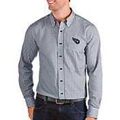 Antigua Men's Tennessee Titans Structure Button Down Navy Dress Shirt