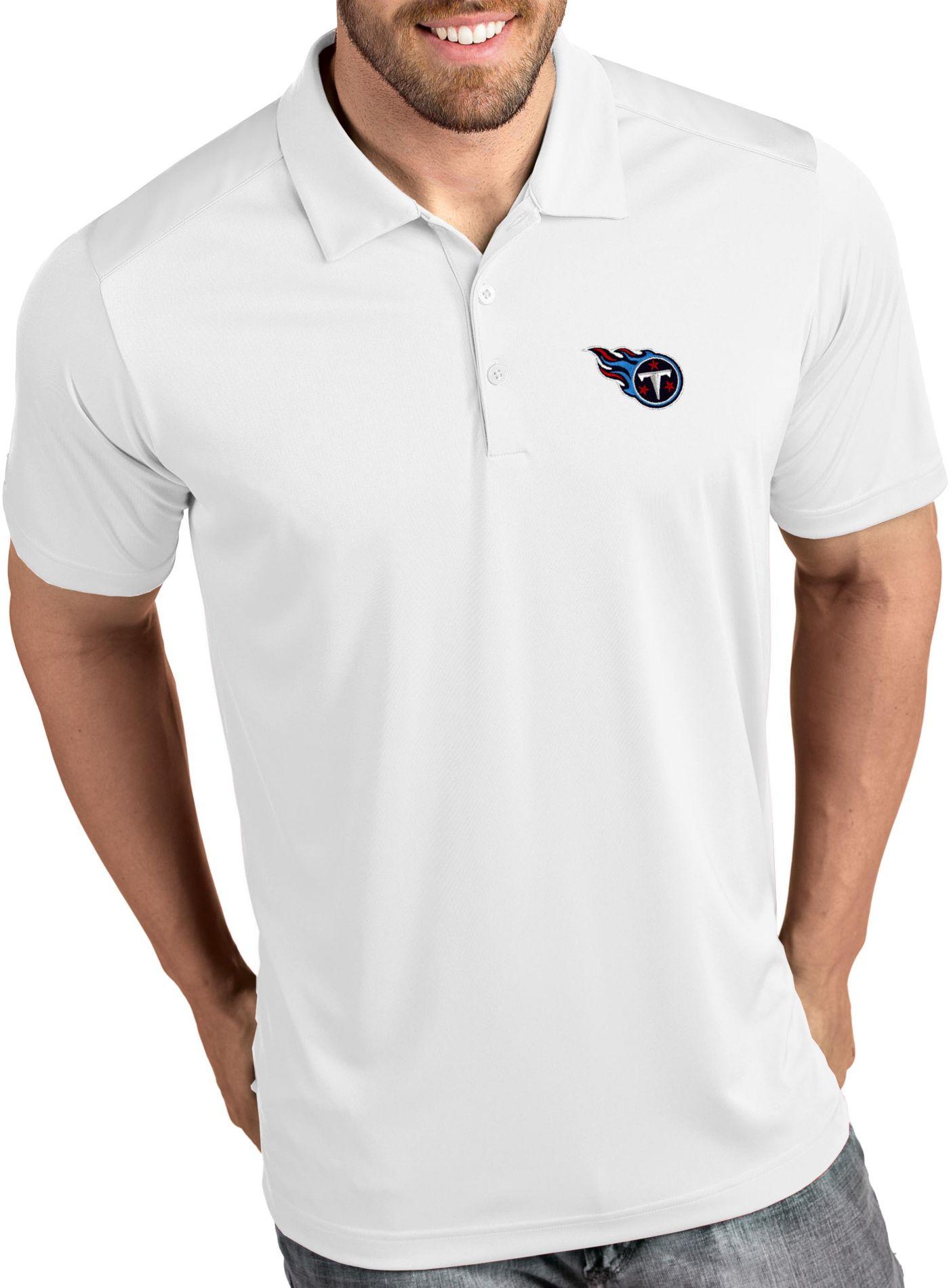 Antigua Men's Tennessee Titans Tribute White Polo