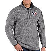 Antigua Men's Houston Texans Fortune Grey Quarter-Zip Pullover