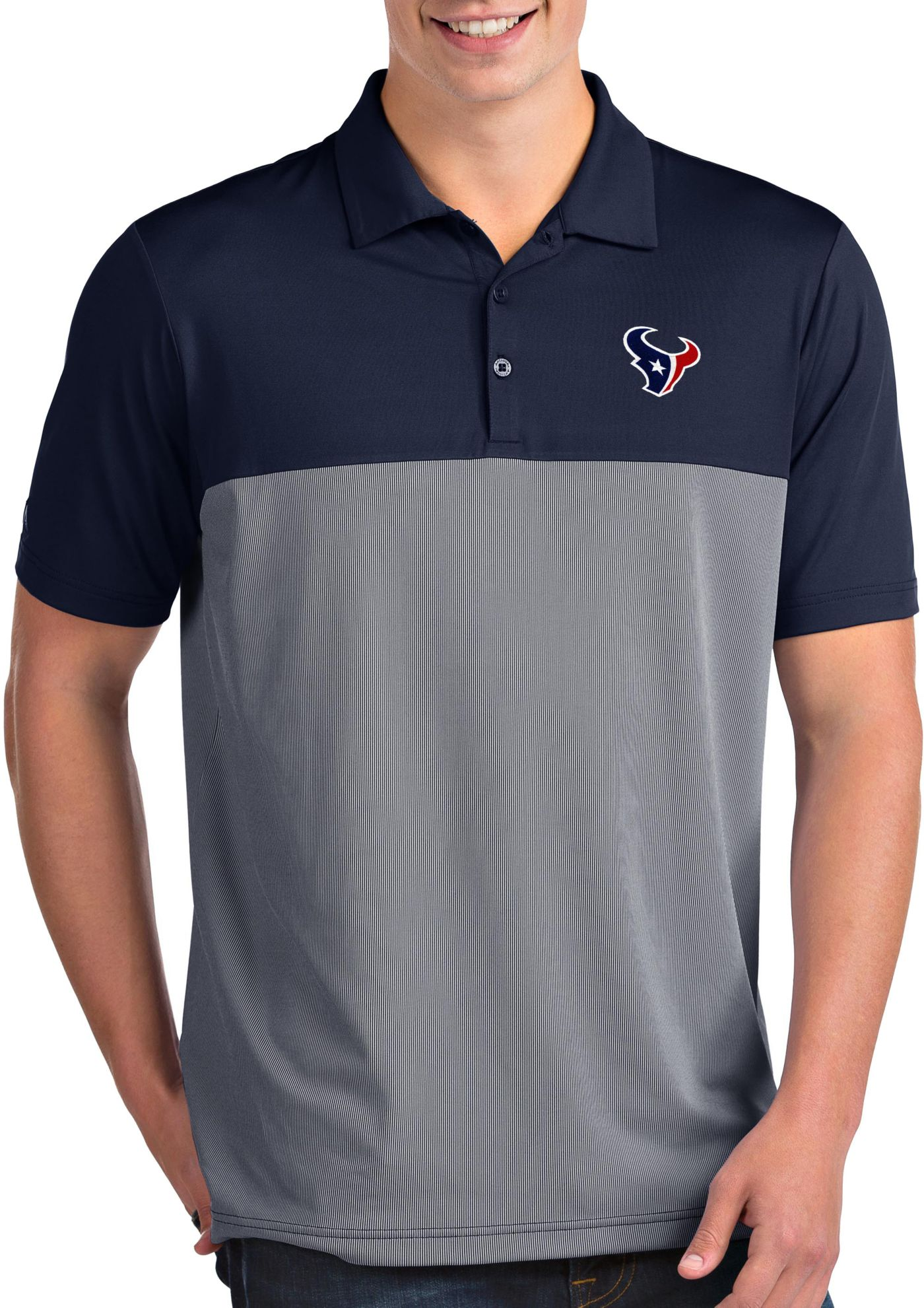 Antigua Men's Houston Texans Venture Navy Performance Polo