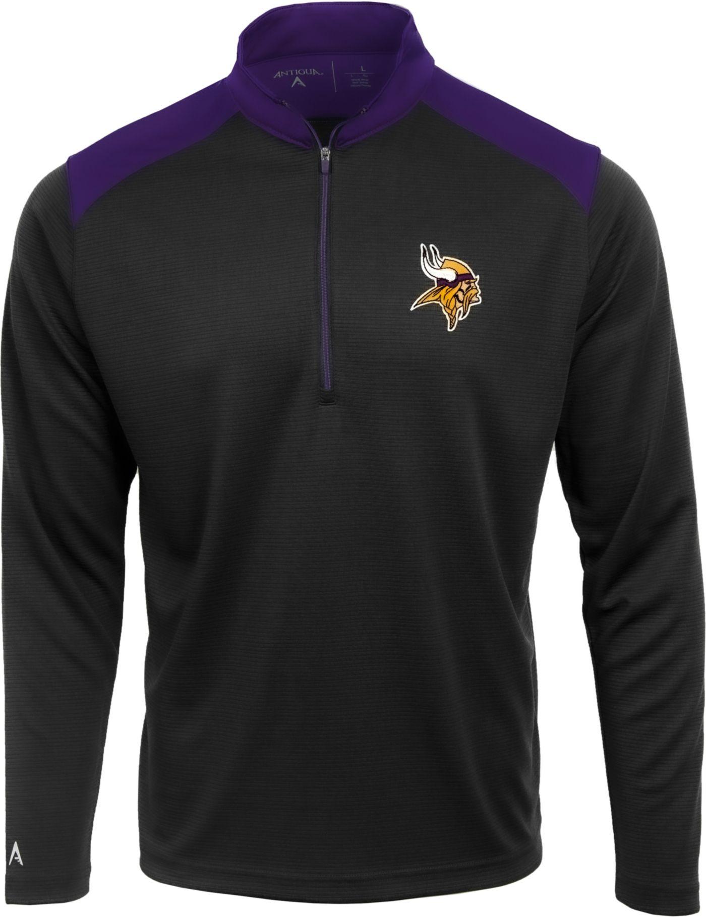 Antigua Men's Minnesota Vikings Velocity Black Quarter-Zip Pullover