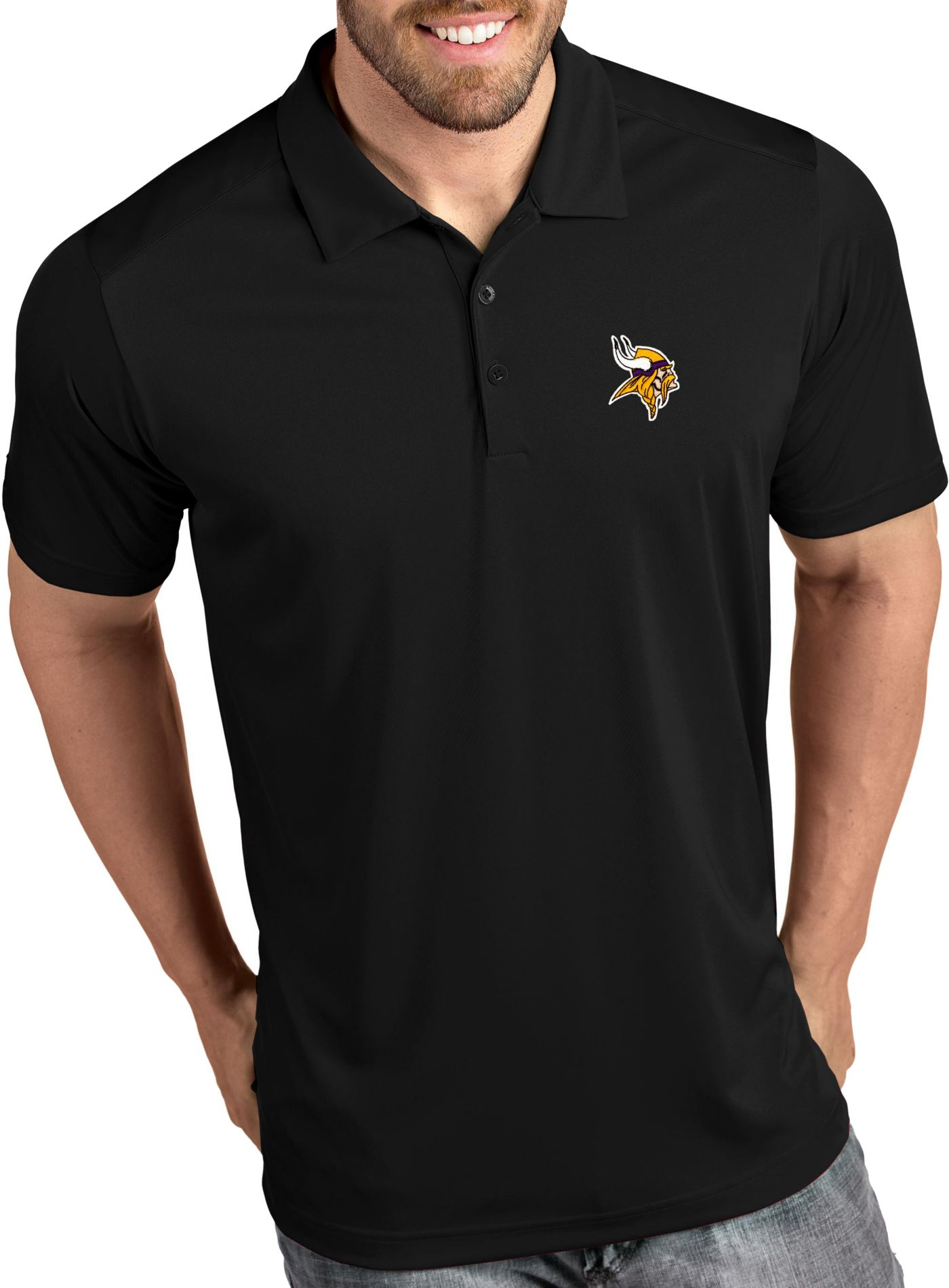 Antigua Men's Minnesota Vikings Tribute Black Polo