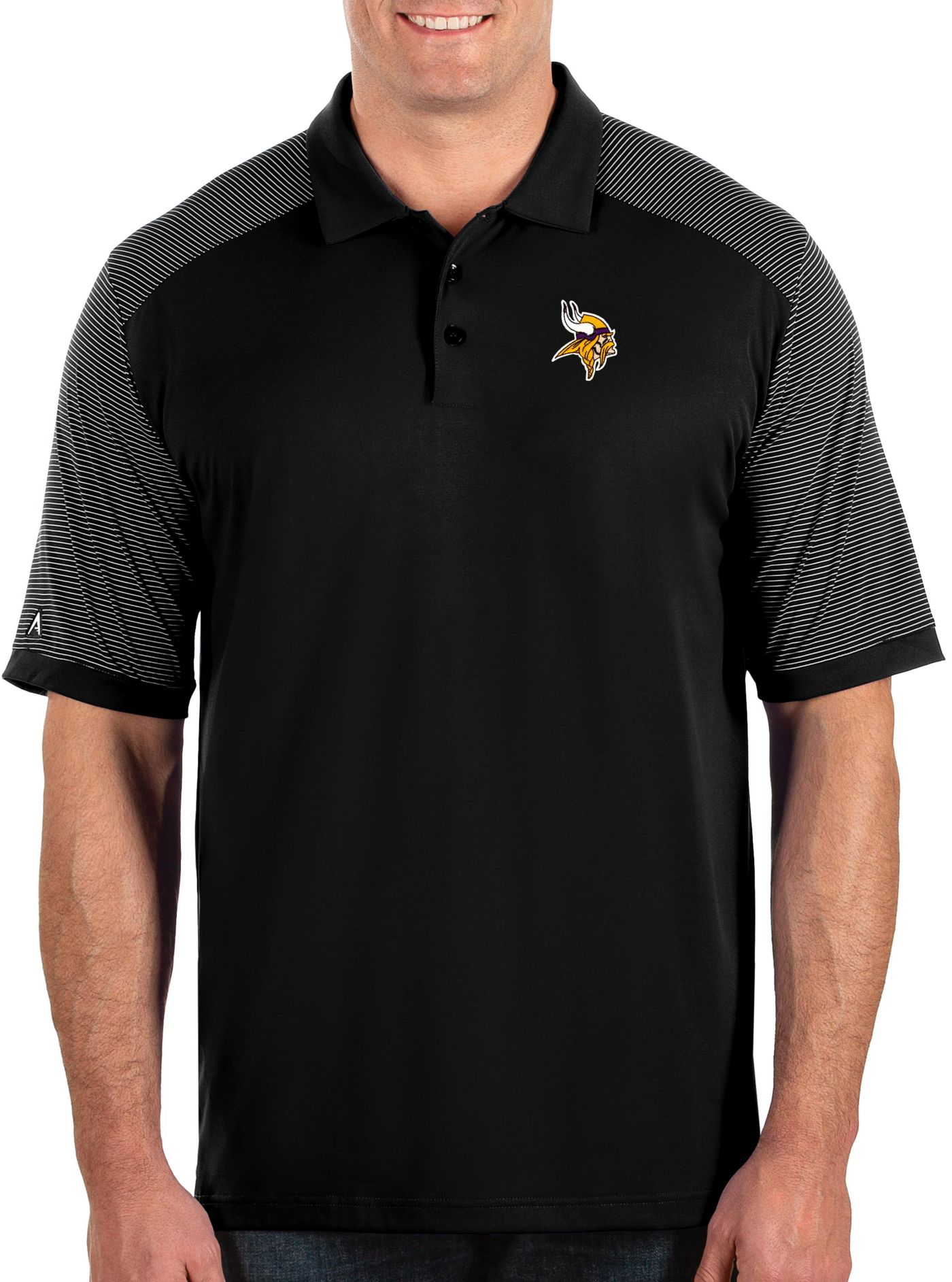 Antigua Men's Minnesota Vikings Engage Performance Black Polo