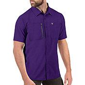 Antigua Men's Minnesota Vikings Kickoff Woven Purple Collared T-Shirt