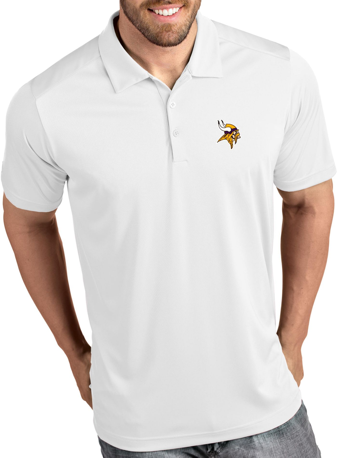 Antigua Men's Minnesota Vikings Tribute White Polo