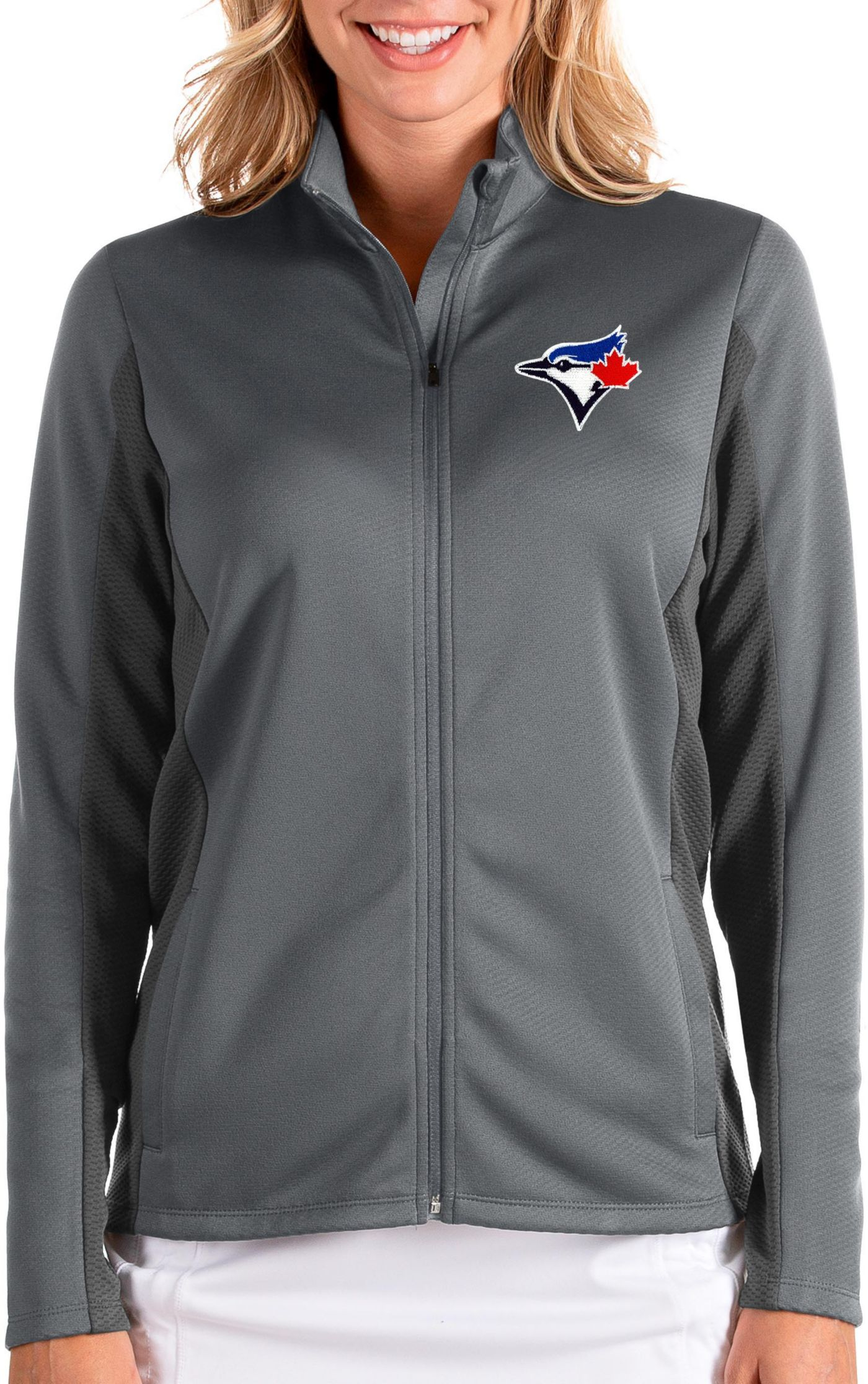 Antigua Women's Toronto Bluejays Grey Passage Full-Zip Jacket