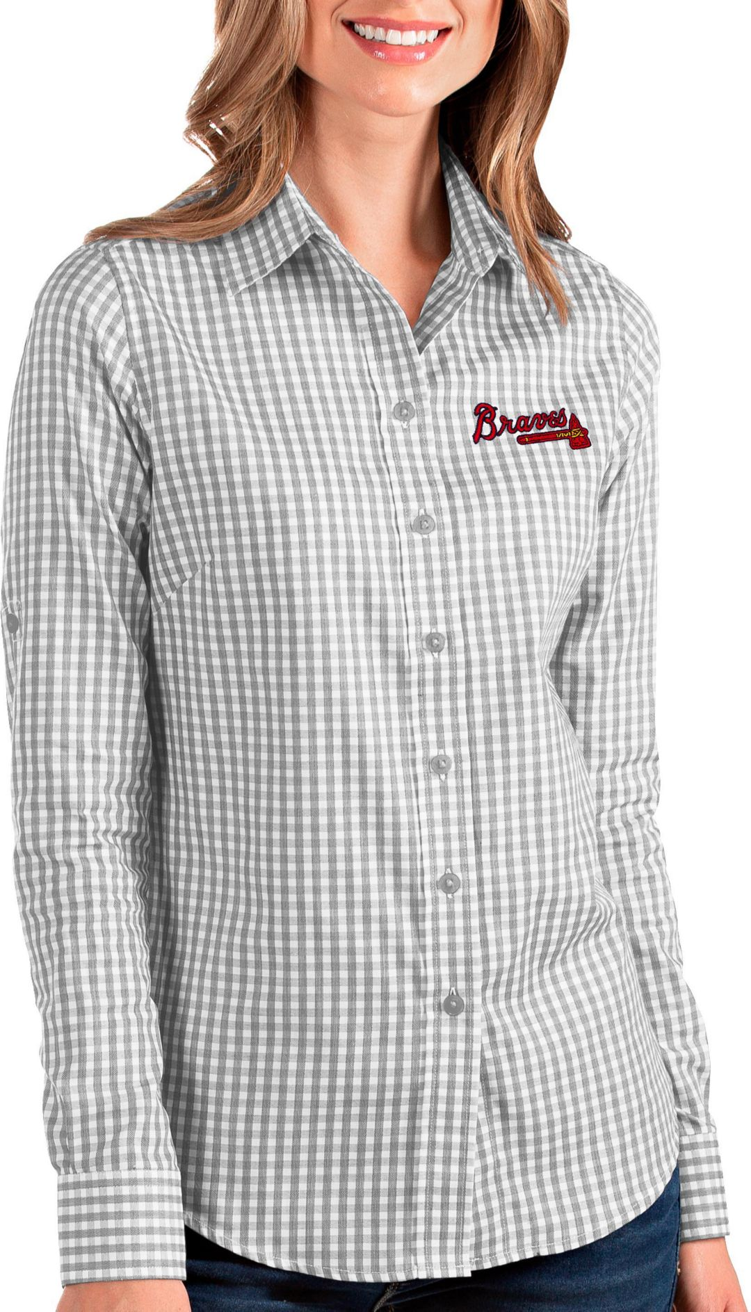 detailed look 07da4 76c3b Antigua Women's Atlanta Braves Structure Button-Up Grey Long Sleeve Shirt