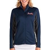 Antigua Women's Atlanta Braves Navy Passage Full-Zip Jacket