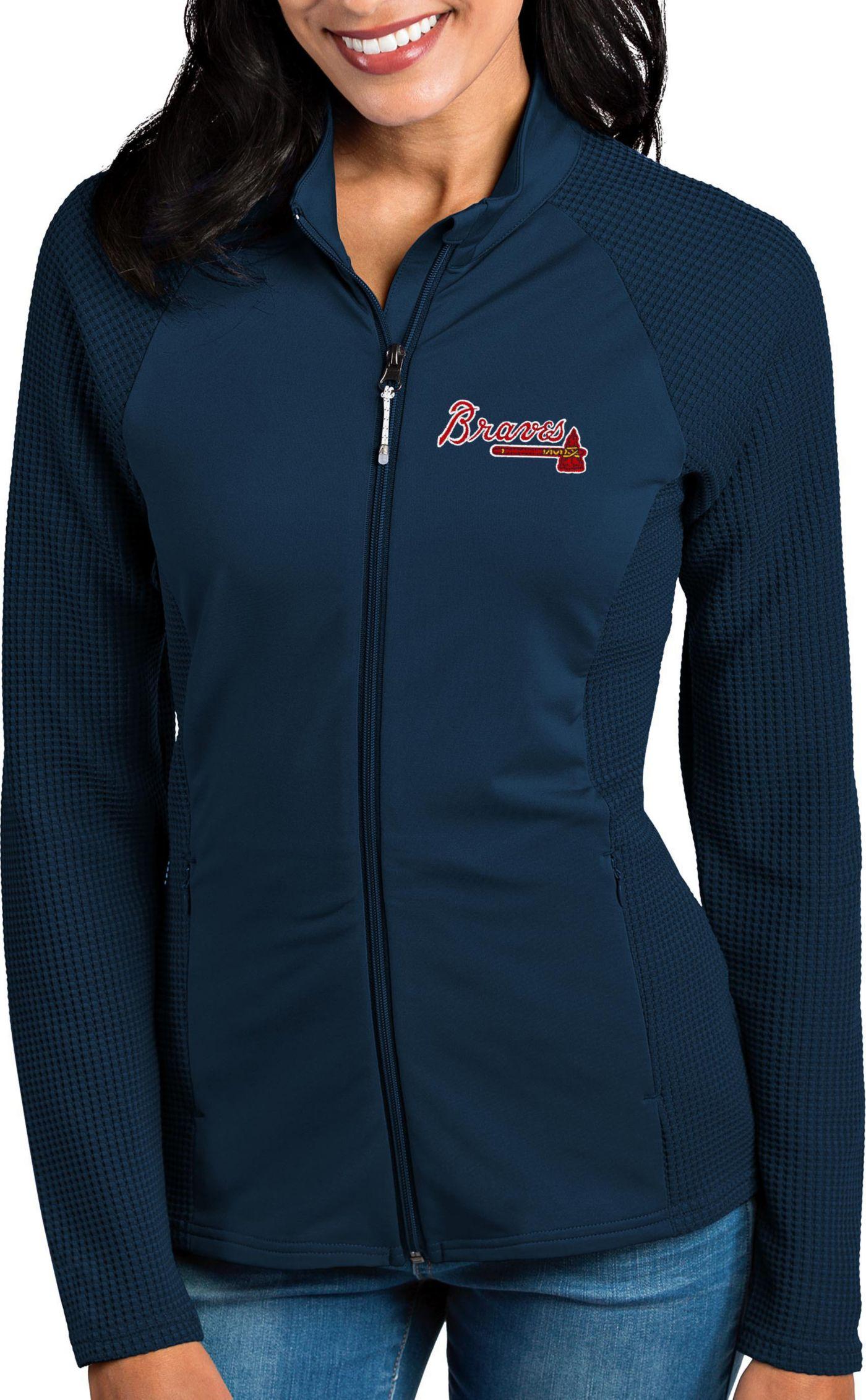 Antigua Women's Atlanta Braves Navy Sonar Performance Quarter-Zip Pullover