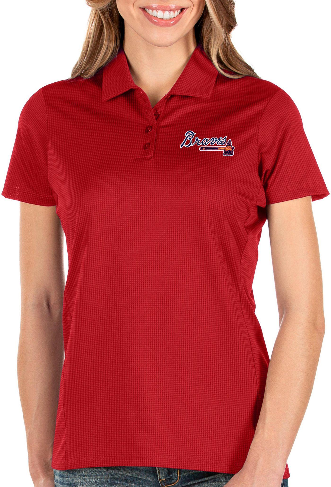 Antigua Women's Atlanta Braves Red Balance Polo