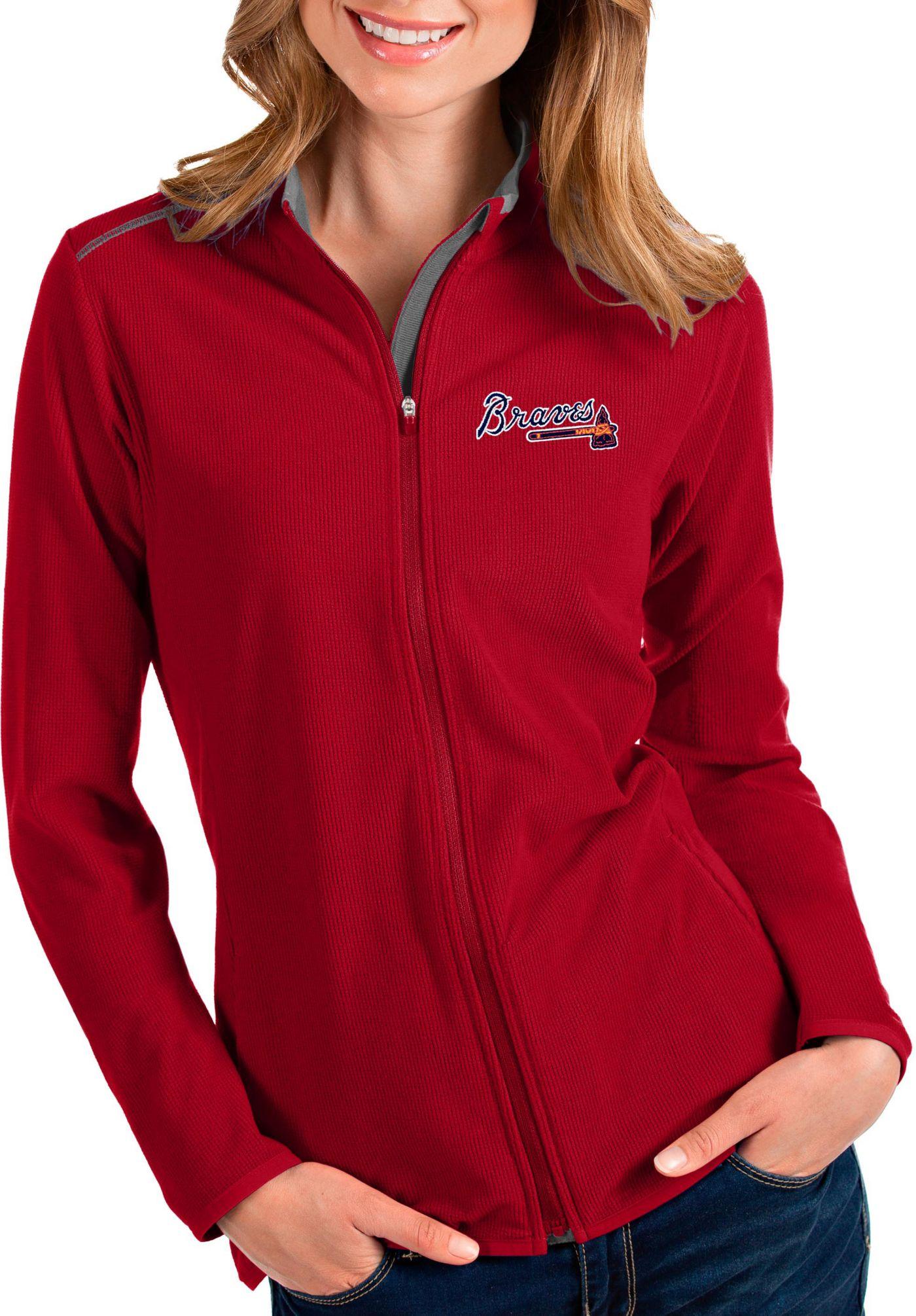 Antigua Women's Atlanta Braves Red Glacier Full-Zip Jacket