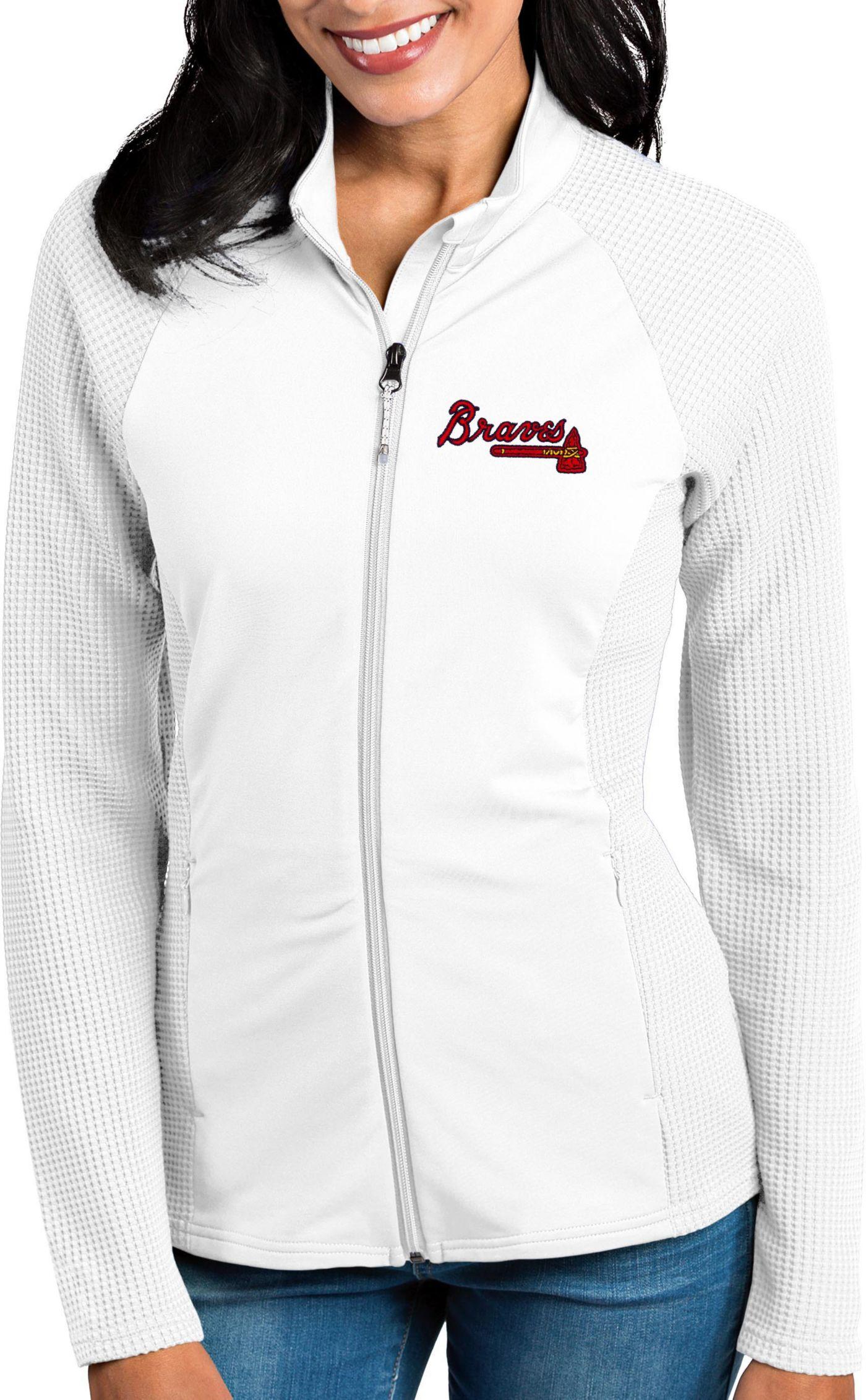 Antigua Women's Atlanta Braves White Sonar Performance Quarter-Zip Pullover