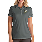 Antigua Women's Milwaukee Brewers Salute Grey Performance Polo