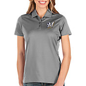 Antigua Women's Milwaukee Brewers Grey Balance Polo