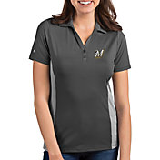 Antigua Women's Milwaukee Brewers Venture Grey Performance Polo