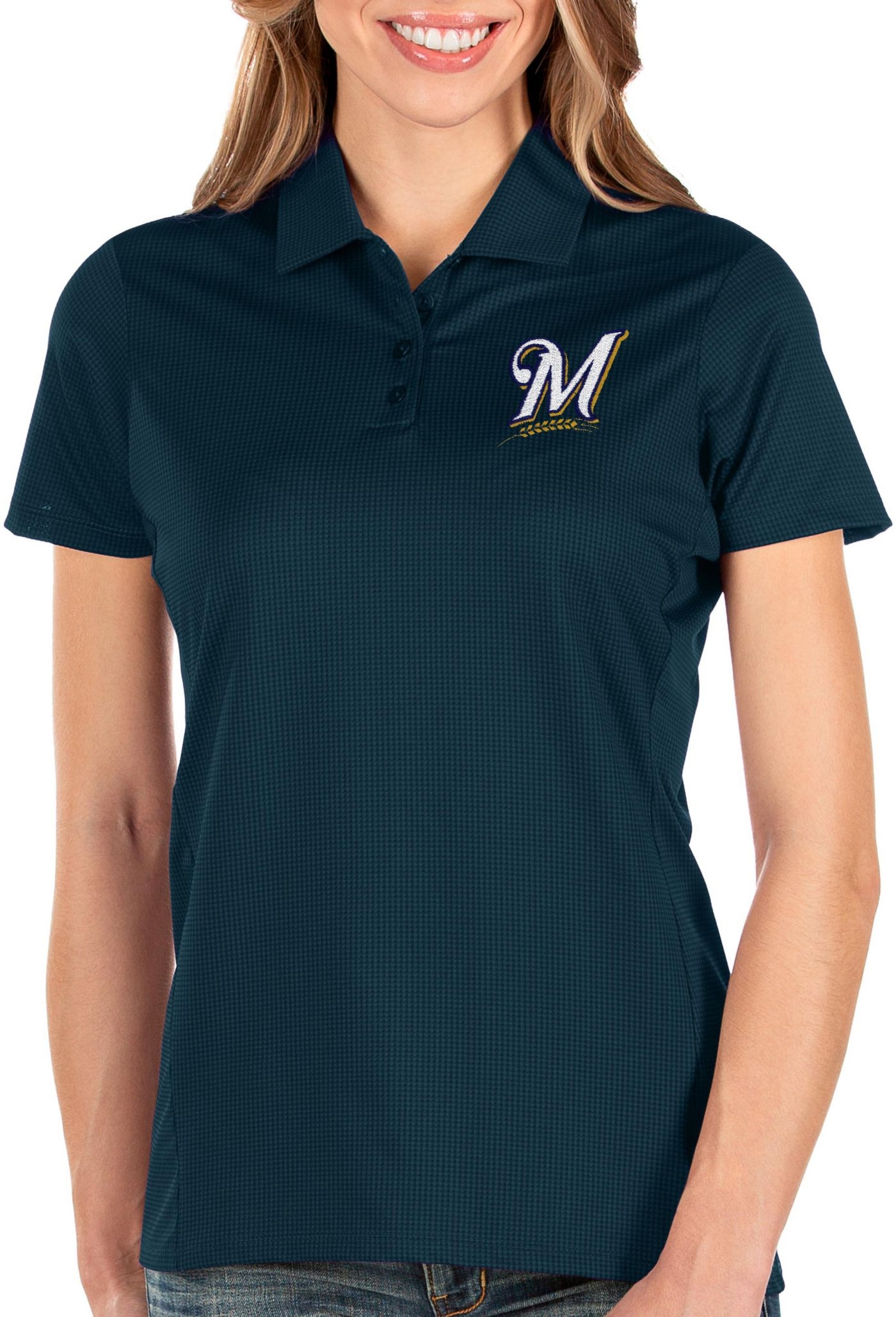 Antigua Women's Milwaukee Brewers Navy Balance Polo
